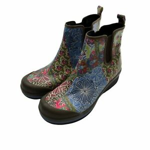 Dansko Boots Womens 39 Floral Print Vail Rain Slip Resistant Coated Canvas Ankle