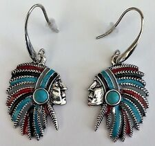 BO002 - BOUCLES D'OREILLE CHEF INDIEN TURQUOISE