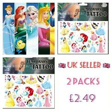 2x Packs Princess Temporary Tattoos Girls Party bag Fillers Favours Cinderella ♡