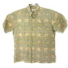 Reyn Spooner XL Hawaiian Shirt Green Brown Reverse Print Lahaina Sailor Flag USA