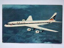 AEREO DELTA AIR LINES airplane Douglas DC 8 FANJET USA old postcard