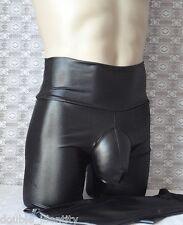 """Crossdress Black Wide Waist Faux Leather Leggings Sissy Pouch Panty 30"""" - 34"""""""
