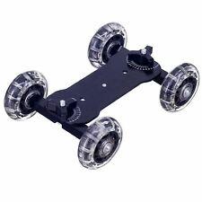 "Camera Table Dolly Track Slider Rolling Wheels Mini Desktop 1/4"" Threads DSLR UK"