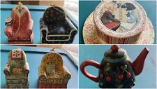 Lot Of 6 Mary Engelbreit Ornaments - 4 Chairs, A Hatbox & A Teapot