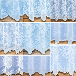 White Floral Net Curtains - Large Choice - Free Postage - Sold By The Metre