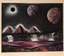 """Space Spray Paint Art Of Purple Pyramids And Waterfalls On Canvas - 11""""x14"""""""
