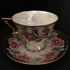 Tea cup and Saucer, Gold & White Iridescent Pink Roses Fancy Handle Japan