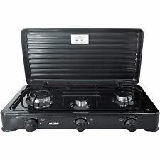Cocina de Gas Portátil para camping 3 quemadores Negra SMILE KN-03/1KB