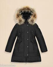 Authentic Moncler Girl's Arrious Fur-Trimmed Long Coat Size 12