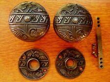 """Antique Fancy Iron Victorian Doorknobs Door Knobs & Roses 1881 """"Diagonal"""" Corbin"""