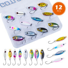 Goture 12pcs Fishing Jig Mini Spoon Bait Jigging Winter Ice Fishing Lure 3.2g-4g