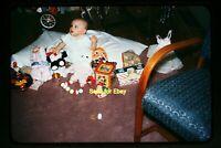 Baby Girl with Toys & Ruston Teddy Bear in mid 1950's, Kodachrome Slide aa 7-10a