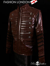 Leather Funnel Neck Zip Military Coats & Jackets for Men