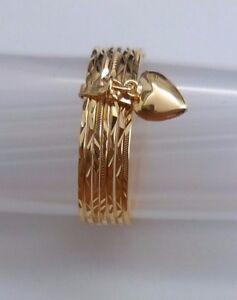 KutChiu 14K Gold Seven ( 7 ) Day Ring #696 Size 7.5