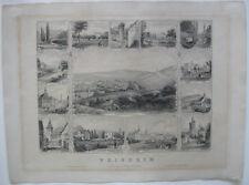 Weinheim Sammelblatt Ansicht 13 Detailanischten Orig Stahlstich Poppel 1840