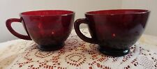 vintage-  Ruby Red -GLASS Tea/Coffee/punch Cups-  set of 2