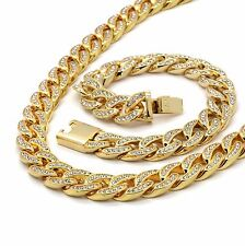 Mens 14k Gold Plated Iced Out Hip-Hop CZ Chain And Bracelet Miami Cuban Necklace