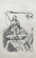 Karl Adser 1912-1995 Angler im Boot Fischerboote See Mann Dänemark