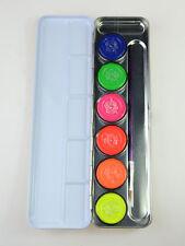 6 Farben Palette - Neon Pinsel Schminke Fasching Party