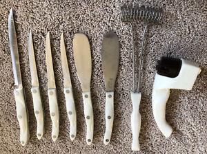 Lot (8) CUTCO Pearl Handled Kitchen Knives & utensils