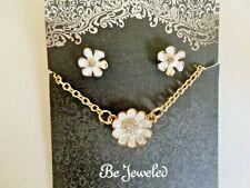 Enamel Flower stud necklace & earring set