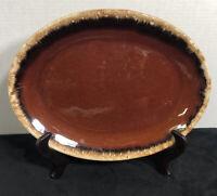 "Vintage Hull Pottery ""Brown Drip"" glaze Oval Serving Platter 12"" -USA"