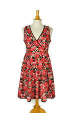 ROBBIE BEE V-Neck & Back Summer Dress Size 12P Women's 12 Petite Cotton Floral