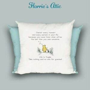 HANDMADE CUSHION ~ WINNIE THE POOH - Cherish Every moment