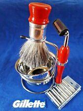 Gillette Trac II / G2 Red set - vintage safety razor - Rasoir de sûreté ancien