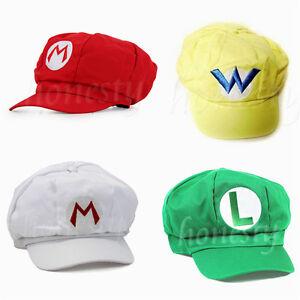 Fashion Adult Size Hat Cap Luigi Super Mario Bros Cosplay Baseball HOT