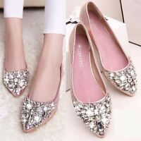 Women Rhinestone Crystal Beaded Decoration Flat Heel Bottom pointy toe Shoes