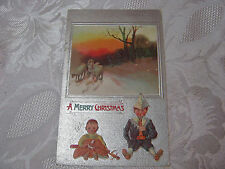 A MERRY  CHRISTMAS 1910 ANTIQUE EMBOSSED POSTCARD  CHILDREN WITH PAPER HAT    T*