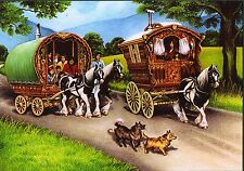 "Romany  ""The Gypsy Travellers"" Reading Vardo Caravan Bow Top Wagon card"