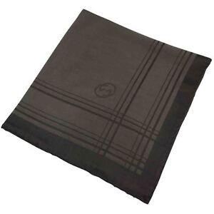 Gucci Pocket Square/Hanky Signature Print Silk Blend Brown BNWOT