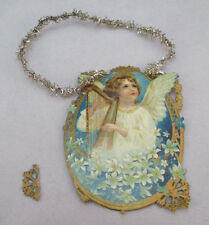 Vintage Victorian Card Angel Playing The Harp Christmas Ornament *