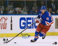 "Pavel Buchnevich New York Rangers Signed 16"" x 20"" Blue Jersey Skating Photo"