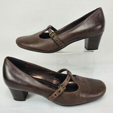 ECCO EURO 37 / US 6.5 M BROWN LEATHER T STRAP MARY JANE PUMPS HEELS DRESS SHOES