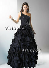OWN THE STAGE! BEADED ONE SHOULDER FORMAL/EVENING/PROM/BALL GOWN; BLACK AU24US22