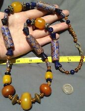 Old Large MILLEFIORI & AMBER Trade Beads W / LAPIS & BRASS Spacers LONG 28in