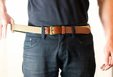 "Big Mens Elastic Beige Brown Stretch belt XXXXL 4XL 54"" - 60"" Comfortable Soft"