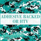 DIGITAL CAMO in Turquoise, Black, & White Pattern Adhesive Vinyl or HTV Transfer