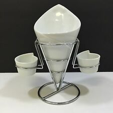 NEW! GIBSON HOME 4pc FRENCH FRY SERVING SET w/ METAL RACK