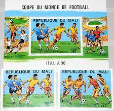 MALI 1990 1130-31 Block 28 C552-54 Soccer World Cup Italy Fußball WM Italien MNH