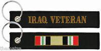 IRAQ  VETERAN EMBROIDERED MILITARY SERVICE  RIBBON BLACK   KEY CHAIN