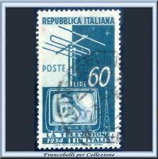 1954 Italia Repubblica L. 60 Televisione Usato n . 736