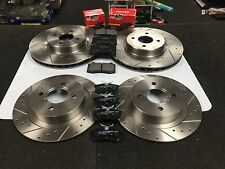 FORD FOCUS MK1 RS BRAKE DISCS CROSS DRILLED GROOVED & MINTEX BRAKE PADS