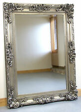 """Paris French Antique Style Ornate Rectangle Wall Mirror Silver 33"""" X 45"""""""