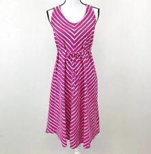 Liz Lange Pink White Chevron Striped Dress Maternity Size Small MSRP $39.99