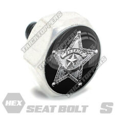 Polished Hex Billet Aluminum Seat To Fender Bolt for Harley SHERIFF STAR BADGE