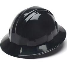 Pyramex Black Full Brim Hard Hat 4 Point Ratchet Suspension 21332